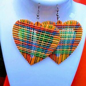 Orange wood Thread hook dangle earrings